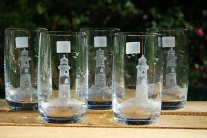 6 schöne Trinkgläser mit Motiv Leuchtturm Maritim Echt HANDGESCHLIFFEN