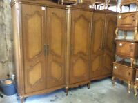 Vintage French Carved Oak Style 5 Door Combination Wardrobe