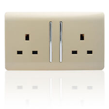 Trendi 2 Gang Modern Champagne Gold Glossy 13 Amp Long Switched Plug Socket
