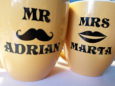 Personalised Vinyl Sticker  Mr & Mrs for Mug with your Name IDEAL GIFT BIRTHDAY