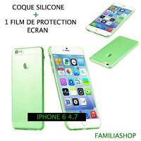 Housse étui pochette coque transparent vert gel silicone iphone 6 4.7 + 1 film
