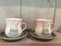 Pair Of Lovely Pottery Mugs Decorated With Reeds Green / Cream Pair Cups Saucers