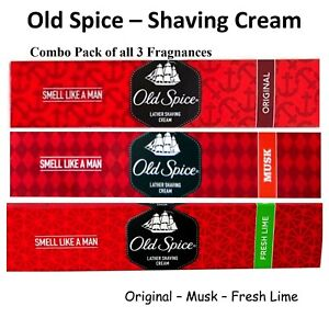 Old Spice Shaving Cream- 70gm- Original, Musk, Lime Fragrances(Pack of 3 )--ws