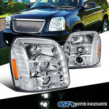 2007-2012 GMC Yukon Denali XL Chrome LED Projector Headlights+Amber Corner Lamps