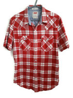 """Mens Levis Red White Checked Shirt Size M 38"""" Slim Fit Short Sleeve Pockets"""