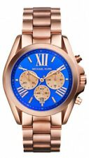 NEW MICHAEL KORS BRADSHAW ROSE GOLD,BLUE ROMAN #'S DIAL,BRACELET WATCH MK5951