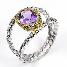 Ring Size 6.75 Natural Amethyst 0.925 Silver