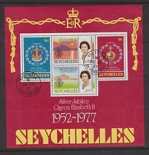 SEYCHELLES USED STAMP MINIATURE SHEET 1977 SILVER JUBILEE QEII SG MS401