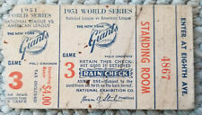 1951 World Series Ticket Game 3 Yankees v Giants 10/6 Polo Grounds WILLIE MAYS
