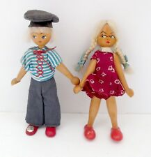 Vintage Set Of Two Wood Dolls- Poland