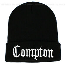 Compton Beanie knit hat cap Vintage Embroidered Cuffed Winter Skull cap - Black