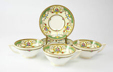 """6pc Minton Tea Cup and Saucer set, """"Kenora""""; Hand Painted with Raised Enamel"""