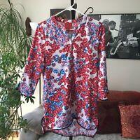 TRACY NEGOSHIAN sz M Red White & Blue Print 3/4 Sleeve Tunic Top Stretch
