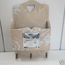 Shabby Chic Wall Mounted Natural Wood Key and Letter Rack With Zinc Key Detail