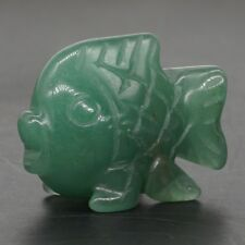 "1.5"" Natural Green Aventurine Crystal Hand-Carved Fish Statue Crafts Home Decor"