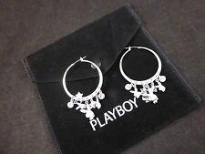 Playboy Rhodium Plated & Swarovski Crystal Star & Bunnies Charm Earrings & Bag