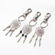 30pcs/Lot Mixed Color Dreamcatcher Key Chains Alloy Glass Pearl Beaded Key Ring