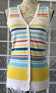 PUMA NWT $79 Womens Colorful Striped Sleeveless Button Up Golf Sweater Cotton XS