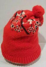 Vtg wool Downhill snow skiing stocking cap  hat beanie knit cap orange white pom