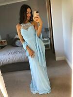 Goddiva Baby Blue Chiffon Dress with Scarf Gown Long Bridal Maxi Evening Prom❤