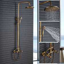Antique Brass Bath Shower Faucet Set 8'' Rain Shower Head Sprayer Mixing Tap US