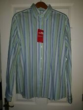 Men's New 100% Cotton Blue & Green Striped L/S Shirts by BURTONS size Large