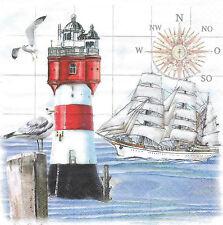 3 Servietten Napkins Maritim & Meer Leuchturm Segelschiff Kompass Möwe #60