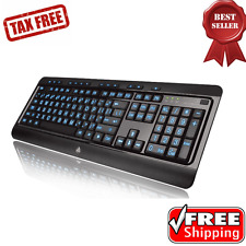 Lighted Computer Keyboard Full Size LED Backlight Multimedia Large Print 3 Color