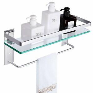 Tempered Glass Bathroom Shelf with Towel bar Wall Mounted Shower Storage