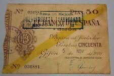 1936 GIJON 50 PESETAS BANCO DE ESPAÑA BANKNOTE SPAIN CIVIL WAR