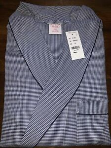 Brooks Brothers Blue Check Pattern Dressing Gown BRAND NEW RRP £115 100% Cotton