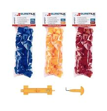 Tile tracker quality re-usable tile spacers 50x 2/3/4mm with J hook + multi tool