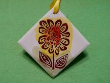 Signed Pat Custer Denison ceramic art tile of ABSTRACT FLOWER in vibrant colors