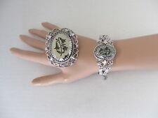 Vintage Whiting Davis Art Nouveau Bluebell Hematite Slivertone Bracelet & Brooch