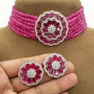New Traditional Indian Bollywood Pearl Kundan Choker Necklace AD CZ Jewelry Sets