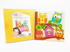 LOT 14611   HESS 14891 Steckpuzzle Eule Eulen Holz Puzzle für Kinder NEU in OVP