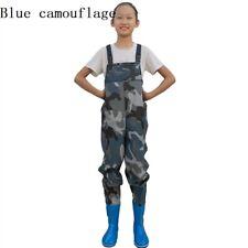 Unisex Bambini Torace Wader Pantaloni Impermeabili Stivali Pesca Aperto Mimetico
