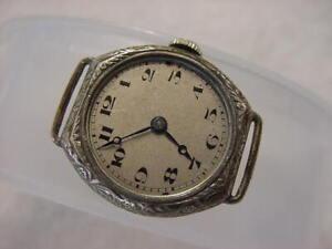Vintage STERLING SILVER antique pre 1920 Art Deco Lady MARC FAVRE watch