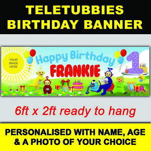 ***NEW*** PERSONALISED TELETUBBIES BIRTHDAY BANNER 6ft x 2ft SIZE