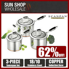 100% Genuine! SCANPAN Coppernox 3 Piece Saucepan Set 16/18/20cm! RRP $549.00!
