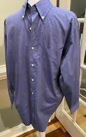 Brooks Brothers Chambray Medium Blue Long Sleeve Dress Shirt Lightweight Size 15