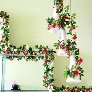 2x8Ft Artificial Silk Rose Flower Ivy Vine Leaf Garland Wedding Party Garlands