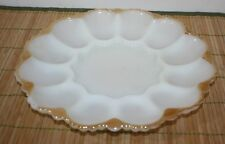 """Milk Glass Oyster Plate Gold Trim Deviled Eggs  10"""""""