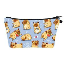 cute pugs cosmetic bag makeup organiser high quality printed make up case