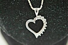 """STERLING SILVER GLASS HEART NECKLACE 20"""""""