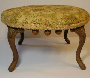 Antique Victorian Needlepoint Floral Footstool Gold Cast Iron Feet Legs Stool