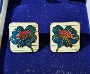 Vintage Blue, Red & White Flower Cloisonne Enamel Square Fish and Crown Earrings