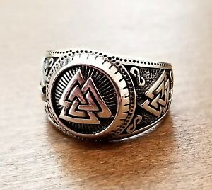 Handcrafted Solid 925 Sterling Silver Men's Viking / Norse VALKNUT Knot Ring
