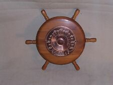 Vintage Cooper Thermometer Nautical Ship's Wheel Wood USA Great Decor