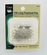 100 WHITE PEARL- PEARLIZED HEAD STRAIGHT PINS~DRITZ~1.5 INCH LONG